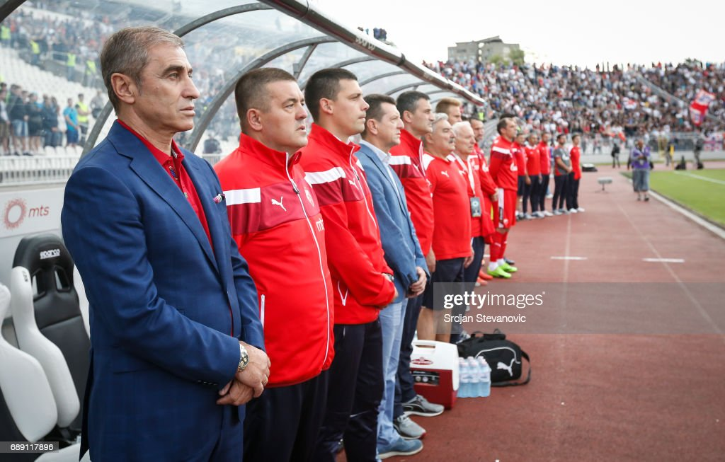 head coach Bosko Djurovski (L) looks on prior the final match of Serbian Cup between Fc Partizan and Fc Crvena Zvezda on May 27, 2017 in Belgrade, Serbia.