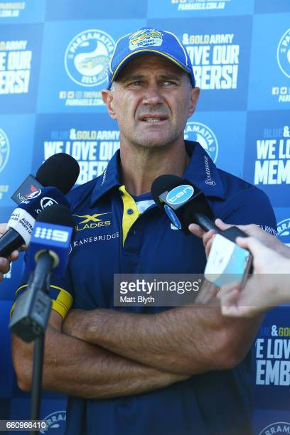 Head coach Brad Arthur talks to the media during a Parramatta Eels NRL media opportunity at the Eels Training Centre Old Sales Yard Reserve on March...