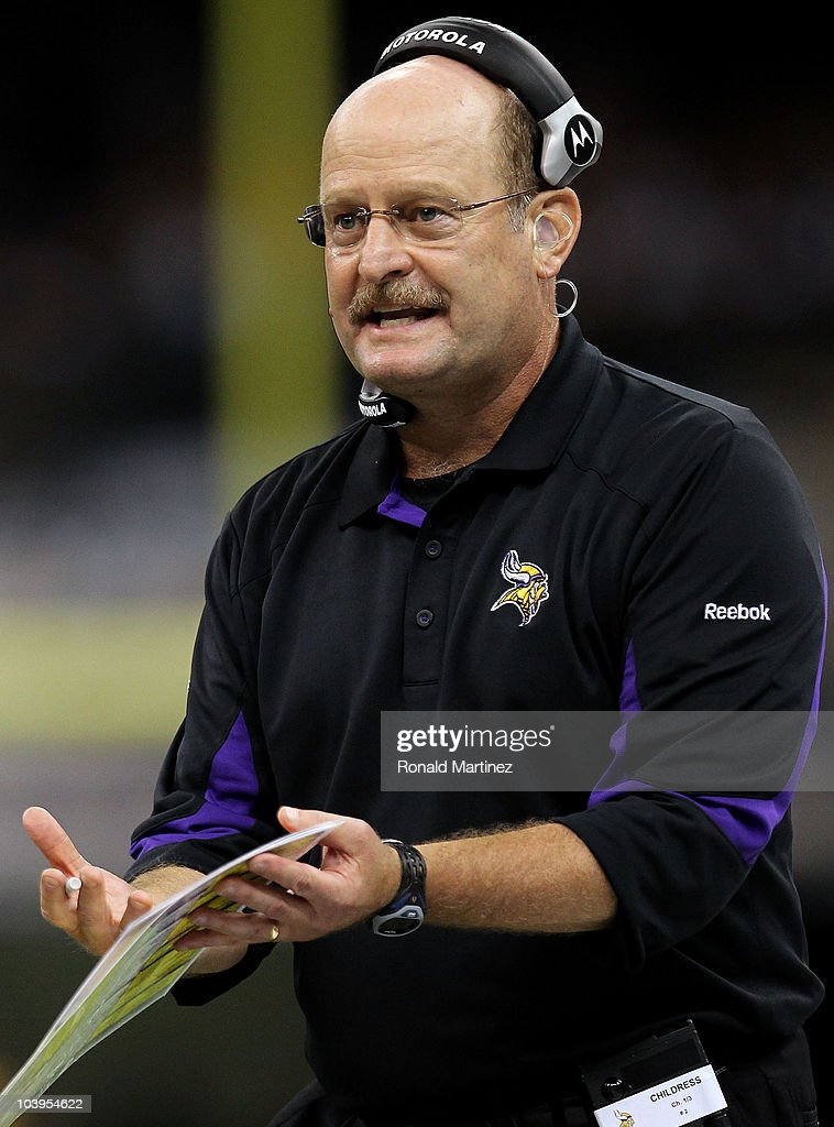 Head coach Brad Childress of the Minnesota Vikings reacts late in the second half the New Orleans Saints at Louisiana Superdome on September 9, 2010 in New Orleans, Louisiana.