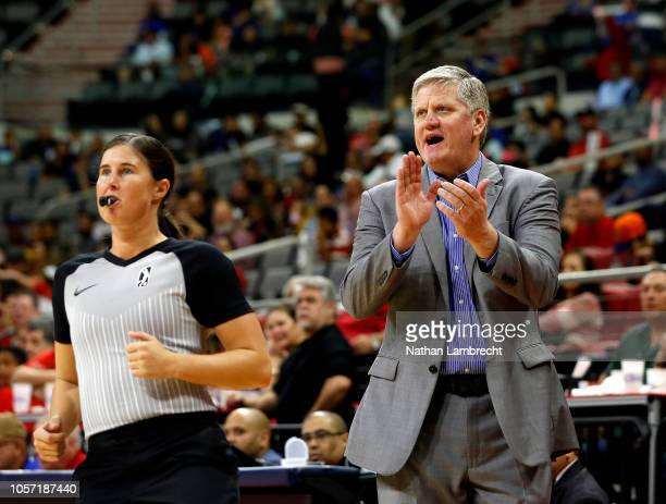 Head Coach Brad Jones of the Memphis Hustle calls out to his team while playing the Rio Grande Valley Vipers during an NBA GLeague game at the Bert...