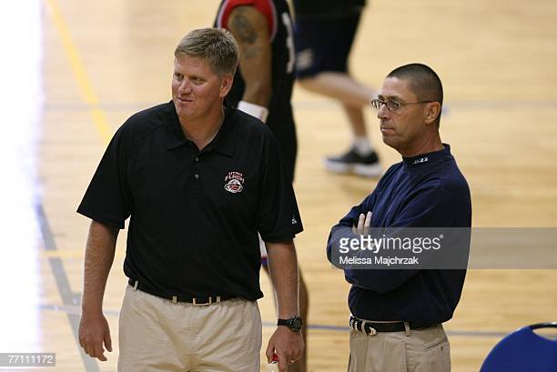 Head Coach Brad Jones of the Utah Flash and Richard Smith of the Utah Jazz watch the try outs for the Utah Flash DLeague team on September 29 2007 at...
