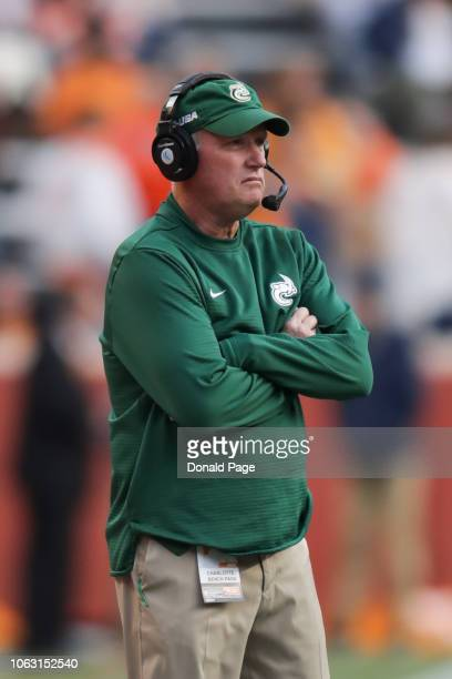 Head coach Brad Lambert of the Charlotte 49ers looks on during the game between the Charlotte 49ers and the Tennessee Volunteers at Neyland Stadium...