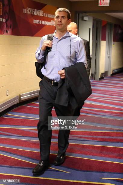 Head Coach Brad Stevens of the Boston Celtics arrives before the game against the Cleveland Cavaliers in Game Four of the Eastern Conference Finals...