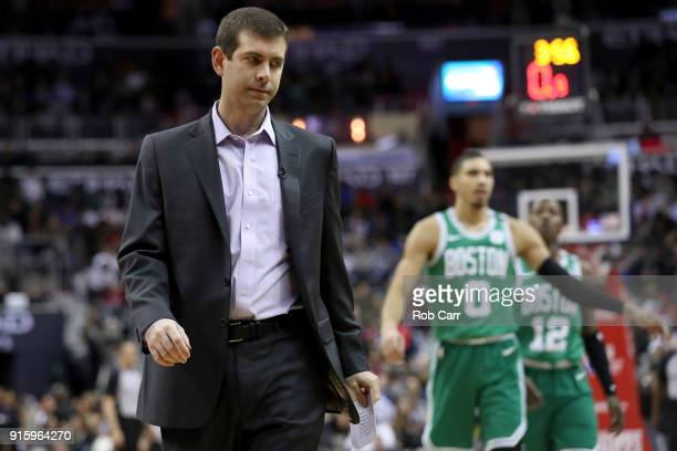 Head coach Brad Stevens of the Boston Celtics calls a time out against the Washington Wizards in the first half at Capital One Arena on February 8...