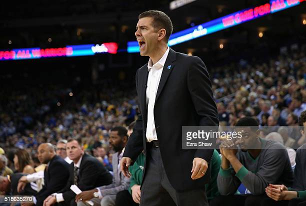 Head coach Brad Stevens of the Boston Celtics complains about a call during their game against the Golden State Warriors at ORACLE Arena on April 1...