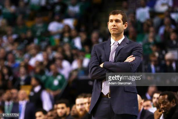 Head coach Brad Stevens of the Boston Celtics looks on during a game against the Cleveland Cavaliers at TD Garden on February 11 2018 in Boston...