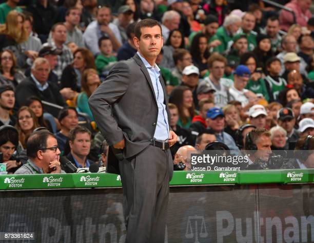 Head Coach Brad Stevens of the Boston Celtics looks on during the game against the Toronto Raptors on November 12 2017 at the TD Garden in Boston...