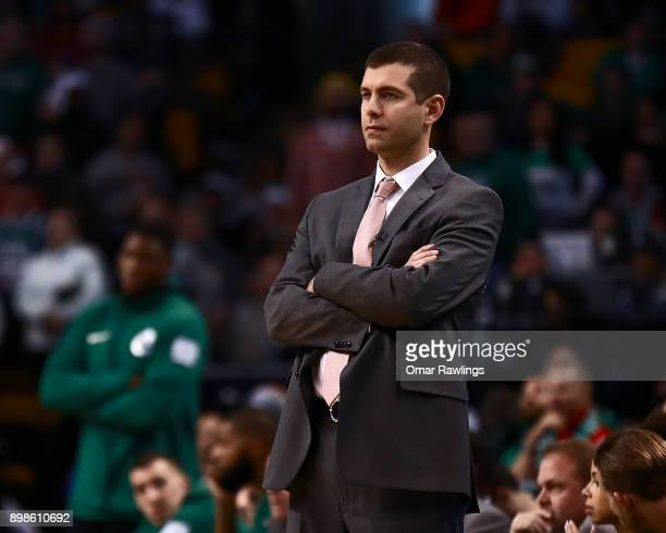 Head Coach Brad Stevens of the Boston Celtics looks on during the fourth quarter of the game against the Washington Wizards at TD Garden on December...