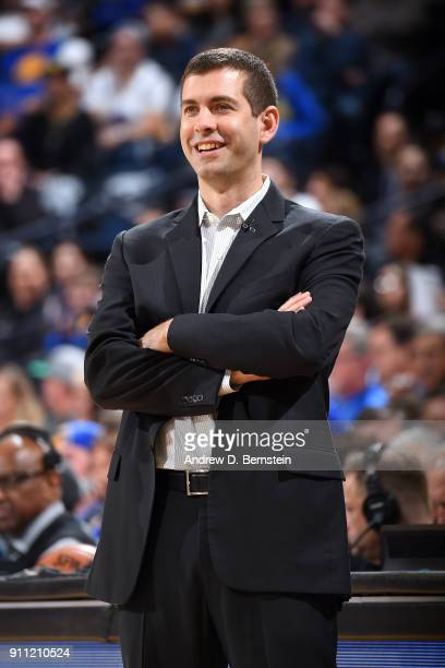 Head Coach Brad Stevens of the Boston Celtics looks on during the game against the Golden State Warriors on January 27 2018 at ORACLE Arena in...