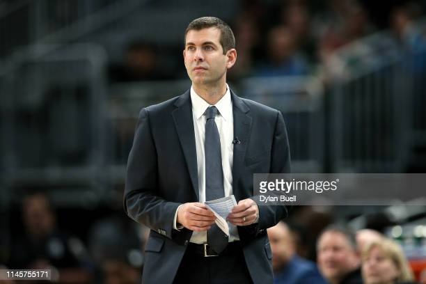 Head coach Brad Stevens of the Boston Celtics looks on in the fourth quarter against the Milwaukee Bucks during Game One of Round Two of the 2019 NBA...