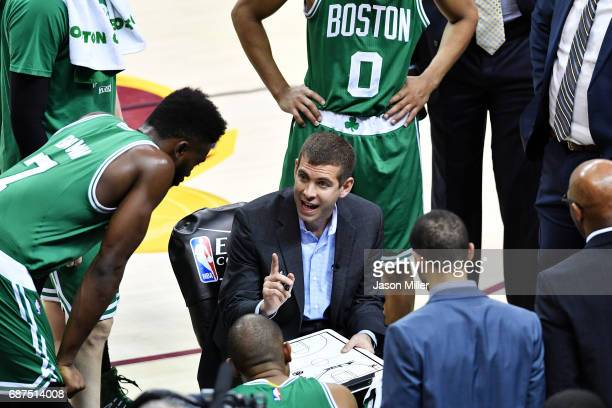 Head coach Brad Stevens of the Boston Celtics speaks to his team in the second half against the Cleveland Cavaliers during Game Four of the 2017 NBA...