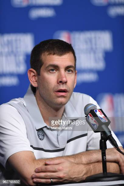 Head Coach Brad Stevens of the Boston Celtics talks to the media following Game Five of the 2018 NBA Eastern Conference Finals against the Cleveland...