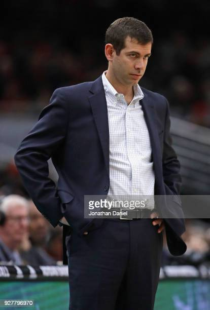 Head coach Brad Stevens of the Boston Celtics watches as his team takes on the Chicago Bulls at the United Center on March 5 2018 in Chicago Illinois...