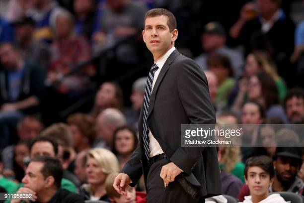 Head coach Brad Stevens of the Boston Celtics watches as his team plays the Denver Nuggets at the Pepsi Center on January 29 2018 in Denver Colorado...