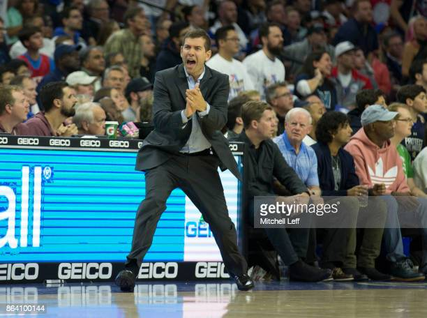 Head coach Brad Stevens of the Boston Celtics yells in the first half against the Philadelphia 76ers at the Wells Fargo Center on October 20 2017 in...