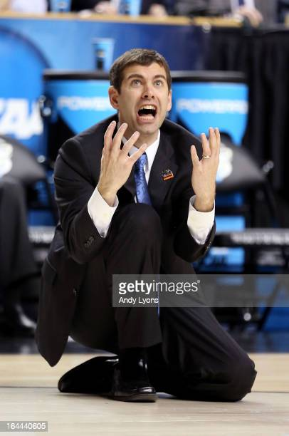 Head coach Brad Stevens of the Butler Bulldogs reacts after a basket is called off and a foul is called against Marquette Golden Eagles in the second...