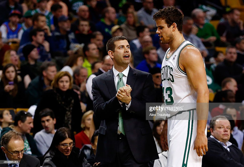 Head coach Brad Stevens speaks with Kris Humphries #43 of the Boston Celtics during a game against the Oklahoma City Thunder at the TD Garden on January 24, 2014 in Boston, Massachusetts.