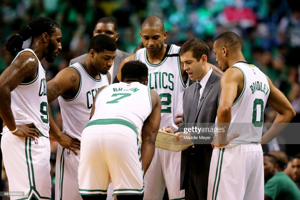 Head Coach Brad Stevens talks to Jaylen Brown #7, Jae Crowder #99, Marcus Smart #36, Al Horford #42 and Avery Bradley #0 of the Boston Celtics during a time out in the second half of Game Five of the Eastern Conference Semifinals against the Washington Wizards at TD Garden on May 10, 2017 in Boston, Massachusetts. The Celtics defeat the Wizards 123-101.