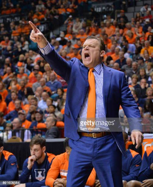 Head coach Brad Underwood of the Illinois Fighting Illini gesture his team's game against the UNLV Rebels during their game at the MGM Grand Garden...