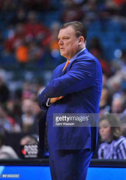 Head coach Brad Underwood of the Illinois Fighting Illini looks on during his team's game against the UNLV Rebels at the MGM Grand Garden Arena on...