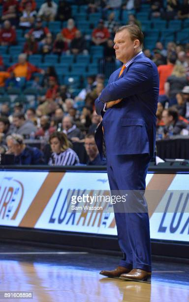 Head coach Brad Underwood of the Illinois Fighting Illini stands on the court during his team's game against the UNLV Rebels at the MGM Grand Garden...