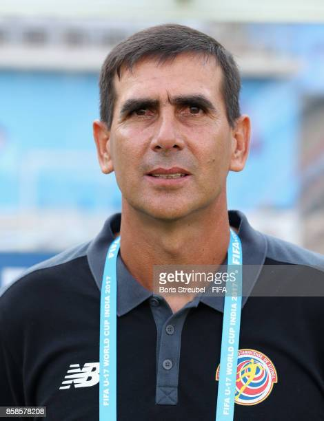 Head coach Breansse Camacho of Costa Rica pose prior to the FIFA U17 World Cup India 2017 group C match between Germany and Costa Rica at Pandit...