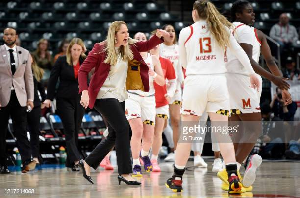 Head Coach Brenda Frese of the Maryland Terrapins celebrates during the game against the Ohio State Buckeyes during the Championship game of Big Ten...