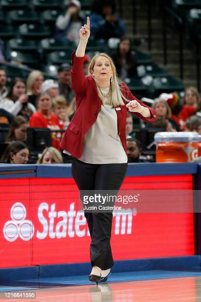 Head Coach Brenda Frese of the Maryland Terrapins directs her team during the Big Ten Women's Tournament against the Ohio State Buckeyes at Bankers...