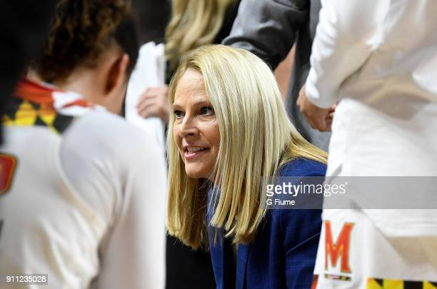 Head coach Brenda Frese of the Maryland Terrapins talks to her team during a timeout in the game against the Iowa Hawkeyes at Xfinity Center on...