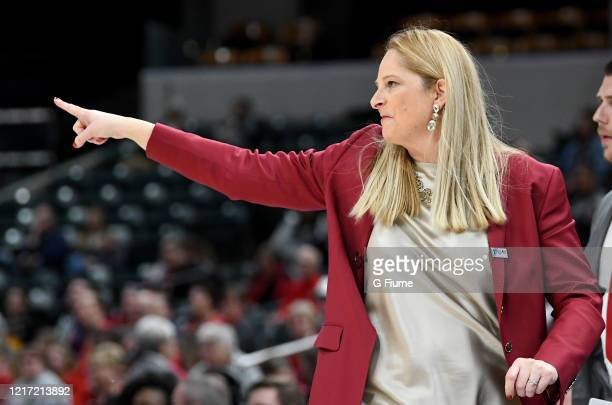 Head Coach Brenda Frese of the Maryland Terrapins watches the game against the Ohio State Buckeyes during the Championship game of Big Ten Women's...