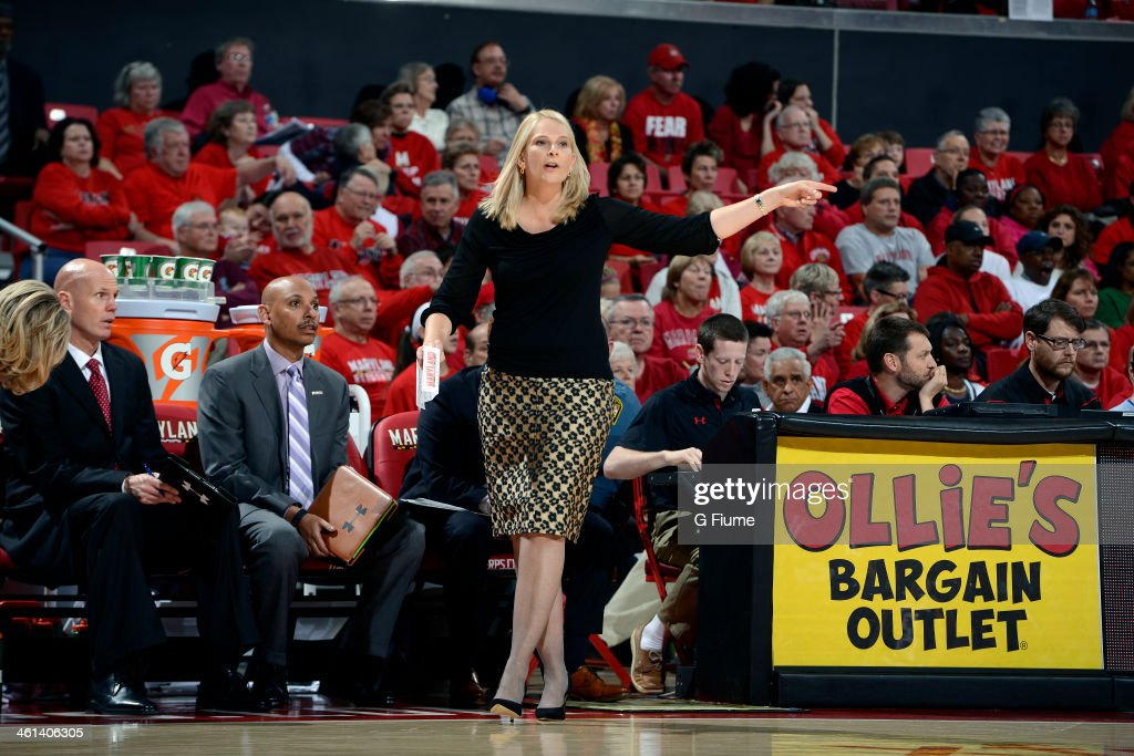 Head coach Brenda Frese of the Maryland Terrapins watches the game against the Connecticut Huskies at the Comcast Center on November 15, 2013 in College Park, Maryland.