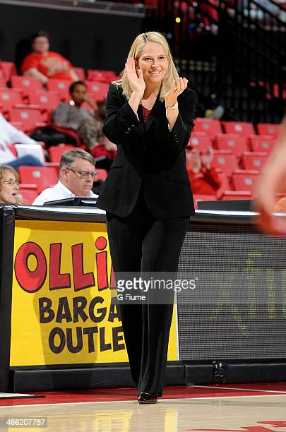 Head coach Brenda Frese of the Maryland Terrapins watches the game against the Delaware State Hornets at the Comcast Center on December 14 2013 in...