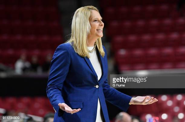 Head coach Brenda Frese of the Maryland Terrapins watches the game against the Iowa Hawkeyes at Xfinity Center on January 4 2018 in College Park...