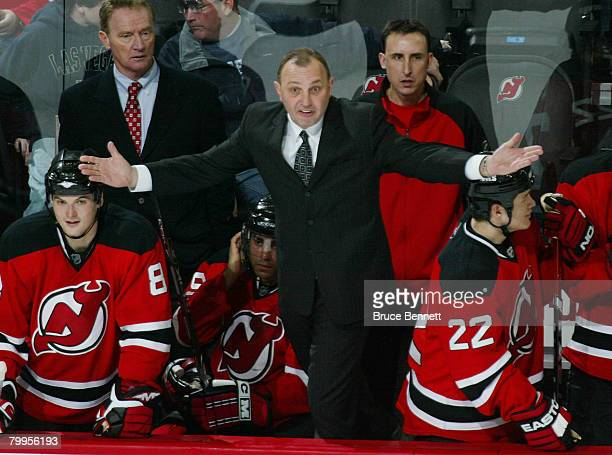 Head coach Brent Sutter of the New Jersey Devils argues a call in his game against the New York Islanders at the Prudential Center February 23 2008...