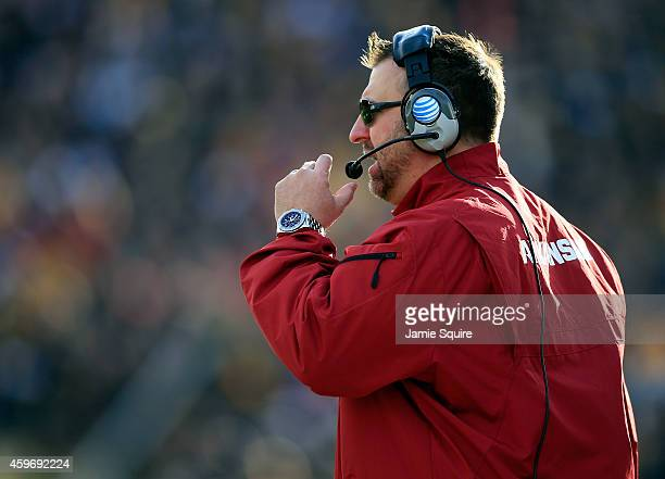 Head coach Bret Bielema of the Arkansas Razorbacks coaches from the sidelines during the game against the Missouri Tigers at Faurot Field/Memorial...