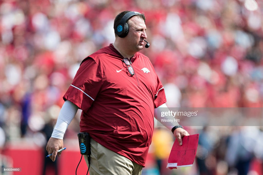 Head Coach Bret Bielema of the Arkansas Razorbacks walks off the field during a game against the TCU Horned Frogs at Donald W. Reynolds Razorback Stadium on September 9, 2017 in Fayetteville, Arkansas. The Horn Frogs defeated the Razorbacks 28-7.