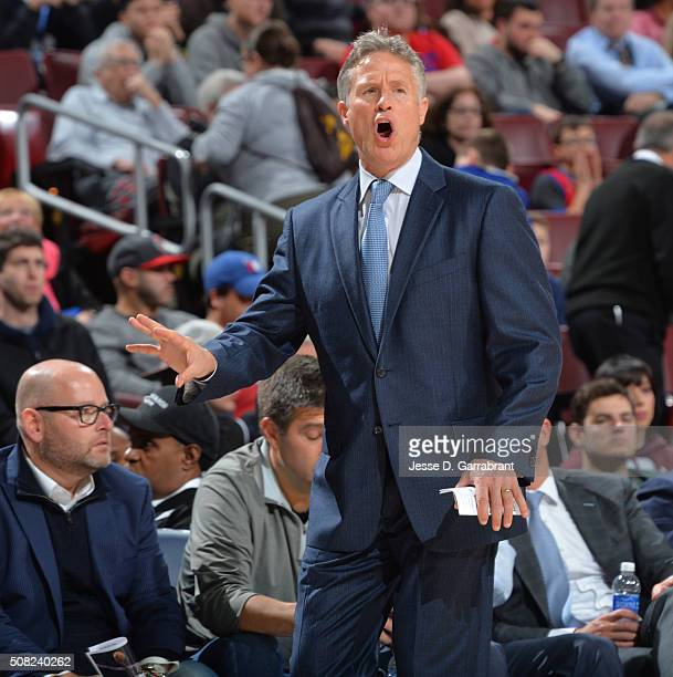 Head Coach Brett Brown of the Philadelphia 76ers gives direction to his team against the Atlanta Hawks at Wells Fargo Center on February 3 2016 in...