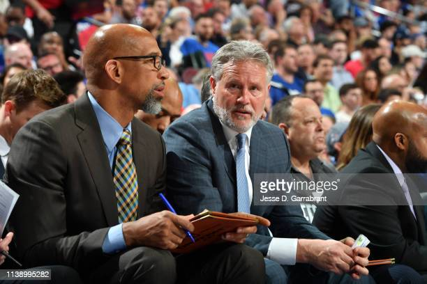 Head Coach Brett Brown of the Philadelphia 76ers looks on during a game against the Brooklyn Nets during Round One Game Five of the 2019 NBA Playoffs...