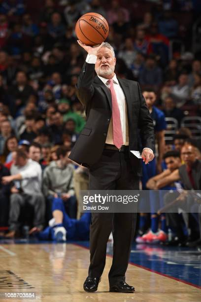 Head Coach Brett Brown of the Philadelphia 76ers looks on during the game against the San Antonio Spurs on January 23 2019 at the Wells Fargo Center...