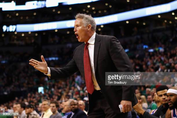 Head coach Brett Brown of the Philadelphia 76ers reacts during the game against the Boston Celtics at TD Garden on January 18 2018 in Boston...