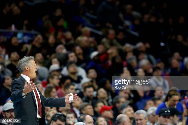 Head coach Brett Brown of the Philadelphia 76ers reacts to an officials call against the San Antonio Spurs in the second half at Wells Fargo Center...