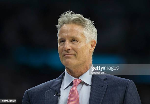 Head coach Brett Brown of the Philadelphia 76ers smiles during the game against the Oklahoma City Thunder at Wells Fargo Center on October 26 2016 in...