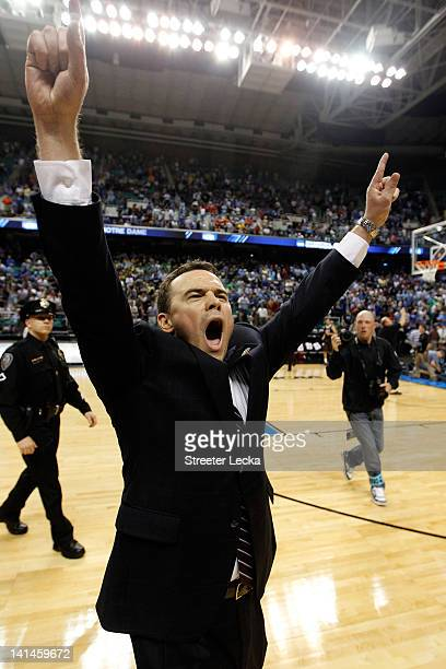 Head coach Brett Reed of the Lehigh Mountain Hawks reacts after the Mountain Hawks defeat the db 7570 during the second round of the 2012 NCAA Men's...
