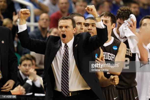 Head coach Brett Reed of the Lehigh Mountain Hawks reacts in the second half as the Mountain Hawks take on the Duke Blue Devils during the second...