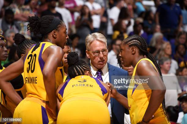 Head Coach Brian Agler of the Los Angeles Sparks leads a huddle during the game against the Phoenix Mercury on August 5 2018 at The Staples Center in...