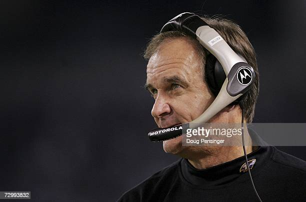 Head coach Brian Billick of the Baltimore Ravens watched from the sidelines as the Ravens lost to the Indianapolis Colts 156 during their AFC...