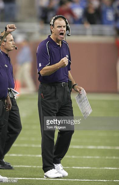 Head coach Brian Billick of the Baltimore Ravens yells from the sidelines during the game against the Detroit Lions at Ford Field on October 9 2005...