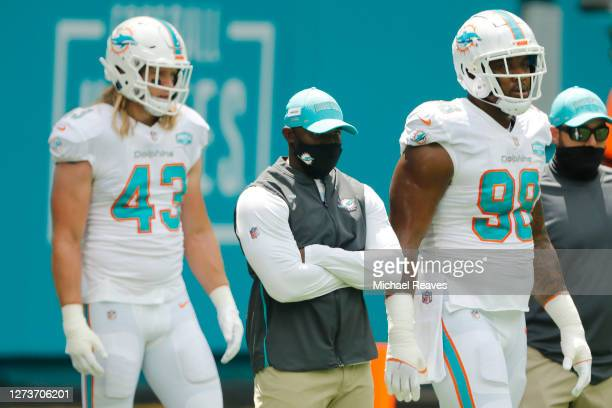Head coach Brian Flores of the Miami Dolphins looks on prior to the game against the Buffalo Bills at Hard Rock Stadium on September 20 2020 in Miami...