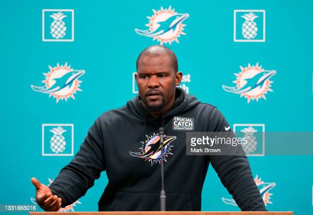 Head Coach Brian Flores of the Miami Dolphins speaks with the media prior to Training Camp at Baptist Health Training Complex on July 31, 2021 in...