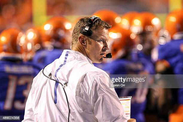 Head coach Brian Harsin of the Boise State Broncos during second half action between the Idaho State Bengals and the Boise State Broncos on September...
